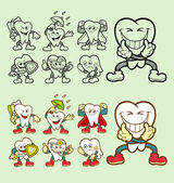 Tooth cartoon character icons illustration — Stock Vector