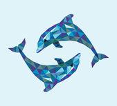 Dolphin triangle low polygon — Vector de stock