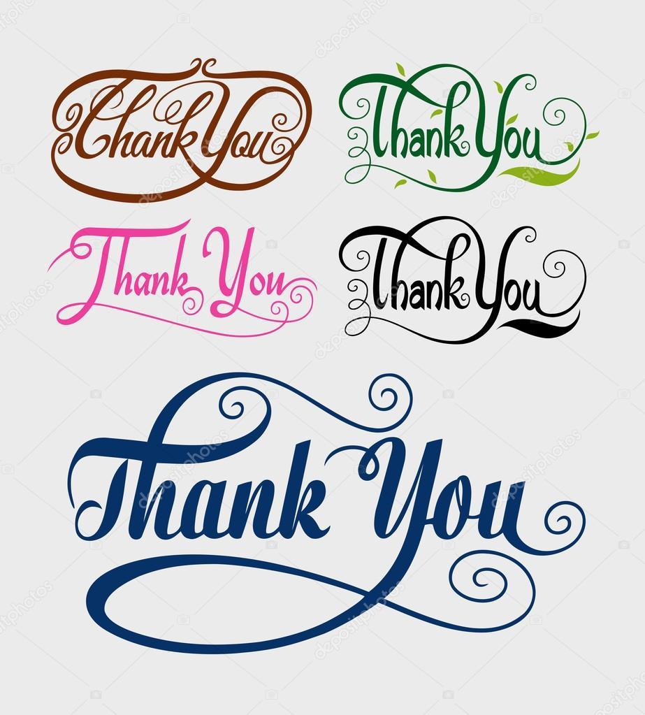 Thank You Swirl Typography Vector Stock Vector