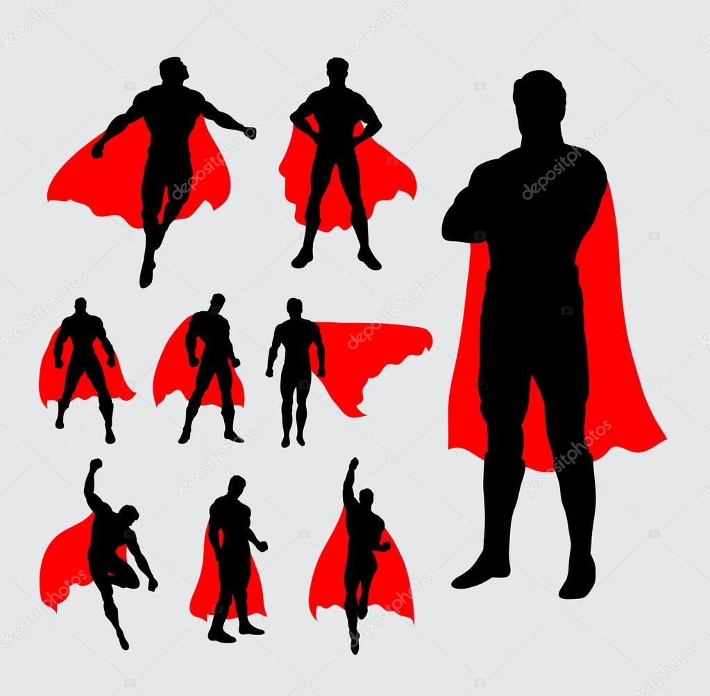 Male Superhero Silhouettes Stock Vector 169 Cundrawan703