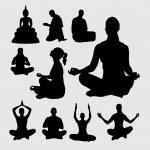 ������, ������: Meditation people silhouettes