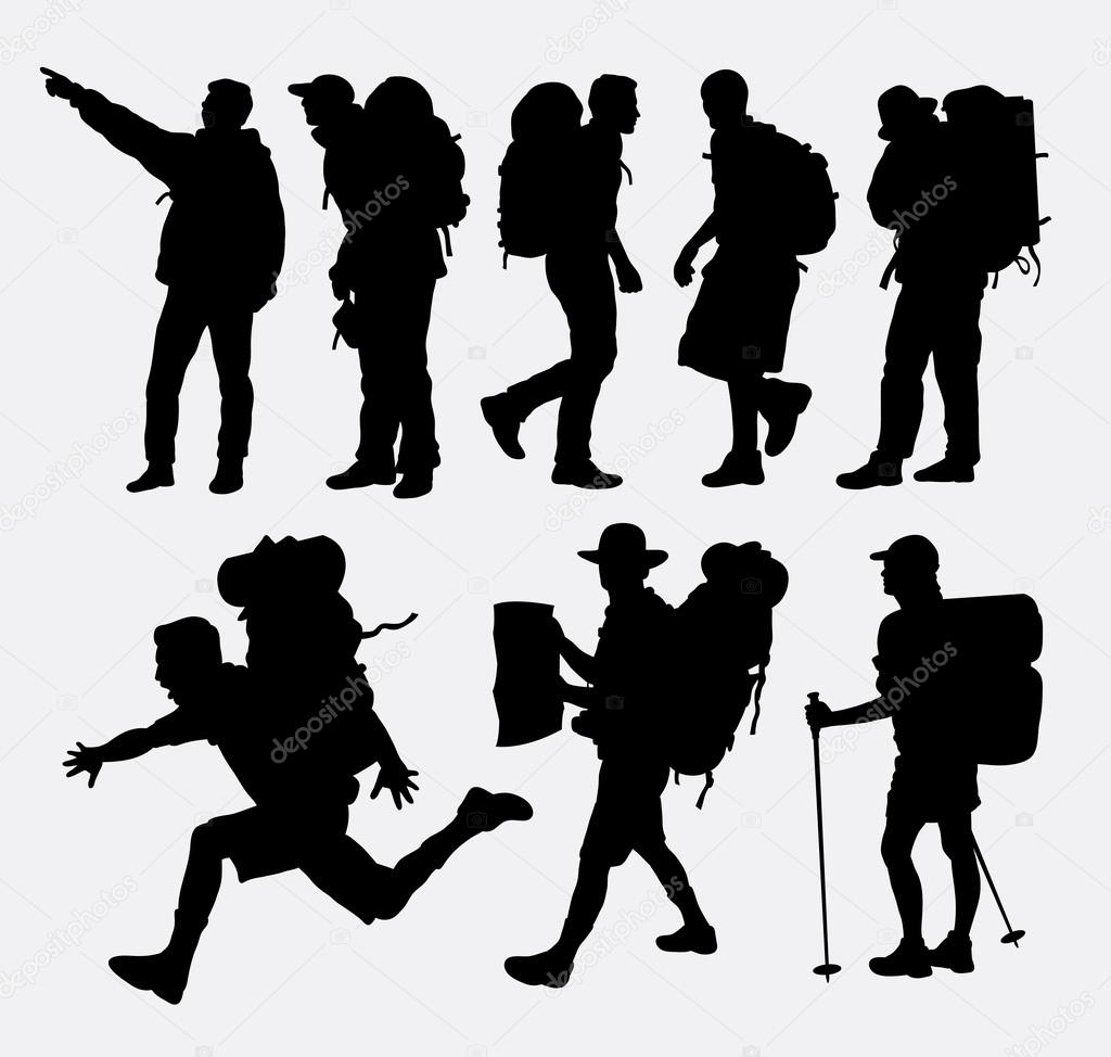 people hiking silhouettes � stock vector 169 cundrawan703