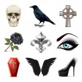 Gothic attributes icons vector set — Stock Vector