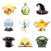 Magic and sorcery icons vector set — Stock Vector