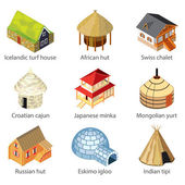 Houses of different nations icons vector set — Stock Vector