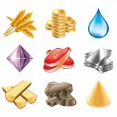 Game resources icons vector set — Stock Vector