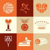 Basketball icons vector set — Stock Vector