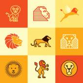 Lion icons vector set — Stock Vector