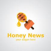 Honey news vector logo design — Stock Vector