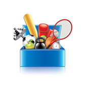 Sport objects box isolated on white vector — Stock Vector