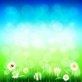 Green grass and blue sky with flowers vector — Cтоковый вектор