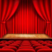 Theater stage with red curtain and seats vector — Stock Vector