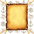 Treasure map and pirates symbols vector background — Stock Vector #77652642