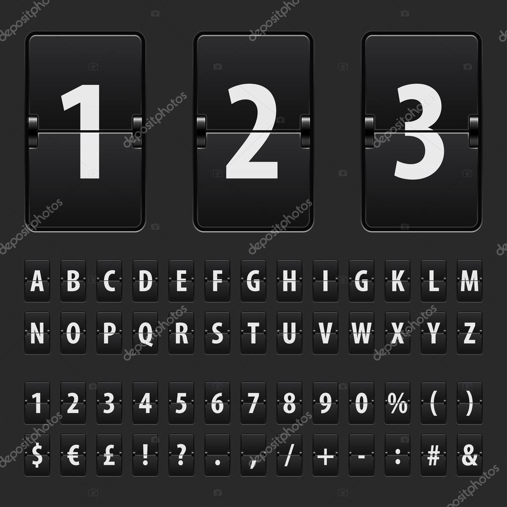 翻转黑色记分牌字母, 数字和符号矢量集– 图库插图