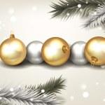 Chrismas balls and christmas tree branches — Stock Vector #52162663