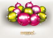 Christmas pink and green balls — Stock Vector