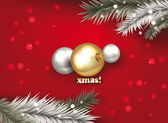 X MAS background with balls and christmas tree branches — Stock Vector