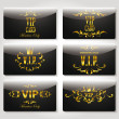 Vip black and gold cards with floral elements — Stock Vector #53473369