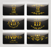 Vip black and gold cards with floral elements — Stock Vector