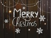 Christmas holiday background with hand drawn text on the wood background — Stock Photo