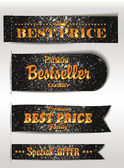 Best Seller and the best Quality textured gold labels — Stock Vector
