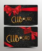 Club cards with red silk ribbons — Stock Vector