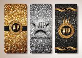 Set of gold and silver VIP cards — Vetor de Stock