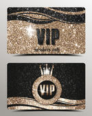 Shiny VIP cards with textured background — Stock Vector