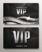 Silver VIP cards with shiny letters and elements — Vetor de Stock