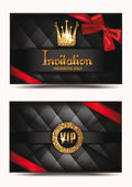 VIP invitation envelope with shiny crown and red ribbon — Stock Vector