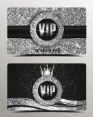 Silver VIP cards with shiny background — Stock Vector