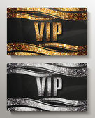 VIP cards with shiny letters and elements — Stock Vector