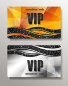Gold and silver VIP cards with abstract background — Stock Vector