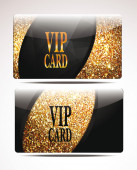 Gold  textured VIP cards — Stock Vector
