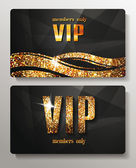 Gold VIP cards with shiny letters and elements — Stok Vektör