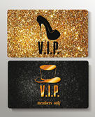 Gold VIP cards with design elements on the textured background — Stock Vector