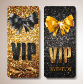 Gold VIP cards with silk ribbons — Stock Vector