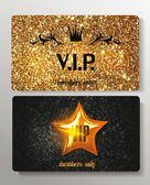 Gold VIP cards with textured background — Stock Vector