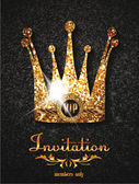 Gold VIP invitation card with gold crown — Stock Vector