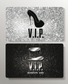 Silver VIP cards with design elements on the textured background — Stock Vector