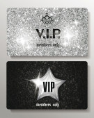Silver plastic VIP cards with texture background — Stock Vector