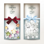 Holiday banners with textured shiny stars and silk ribbon — Stock Vector