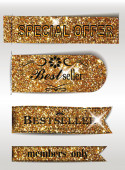 Best Seller and special offer textured gold labels — Stock Vector