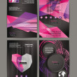 Abstract vector banners, design templates collection with purple and pink geometric shapes — Stock Vector #57473313