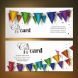 Holiday banners with colorful confetti and flag ribbons — Stock Vector #57473375