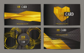 Set of abstract gold club cards — Stock Vector
