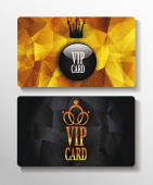 Vip textured cards with polygonal background — Stock Vector