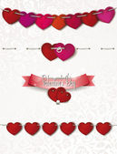 Set of valentine's day ropes with hearts — Stock Vector