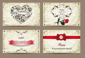 Set of vintage valentine's cards — Stock Vector