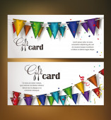 Holiday banners with colorful confetti and flag ribbons — Stock Vector